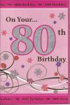 80th Birthday Card - Female - Pink Glitter