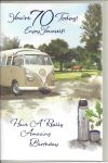 70th Birthday Card - Male - Campervan & Flask