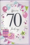 70th Birthday Card - Female - You're 70 Today Presents Purple
