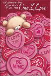 Valentines Day Card - For the One I Love - Love Hearts