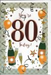 80th Birthday Card - Male - Orange Balloons