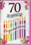70th Birthday Card - Female - 70 Today Candles