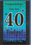40th Birthday Card - Male Blue 40 Today