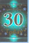 30th Birthday Card - Male Blue 30 Today