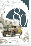 80th Birthday Card - Grandad - Car - Glitter