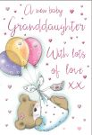 New Baby Girl Granddaughter Card - Bear & Balloons