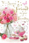 Birthday Card - Special Friend - Flowers & Teapot