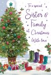 Christmas Card - Sister & Family Xmas Tree - Regal