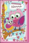 Mother's Day Card - Nanna Cute Owl Pink