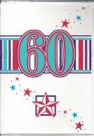 60th Birthday Card - 60 Blue Red Star