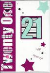21st Birthday Card - Female - 21 Purple Hip Hooray!