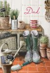 Birthday Card Large - Dad - In The Garden Wellies - At Home Ling Design