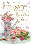 80th Birthday Card - Female - Watering Can Flowers - Glittered - Regal