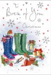 Christmas Card - Both of You - Wellies Lantern - Glittered - Regal