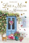 Mother's Day Card - Like A Mum - Front Door - Glitter - Regal