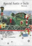 Special Auntie & Uncle Green Train - Christmas Card
