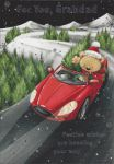 Grandad Red Sports Car - Christmas Card