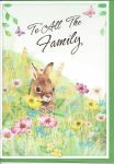 Easter Card - To All The Family - Bunny Rabbit