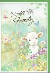 Easter Card - To All The Family - Lamb Sheep