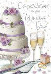 Wedding Day Card - Congratulations Wedding Cake & Rings