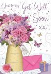 Get Well Soon Card - Pink Flowers & Present