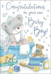 New Baby Boy Card - Bear in the Bath