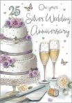 Wedding Anniversary Card - On Your Silver 25 25th Anniversary- Regal