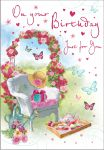 Birthday Card - Female - Just For You - Garden Afternoon Tea
