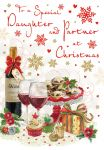 Christmas Card - Daughter & Partner Wine Mince Pies - Regal