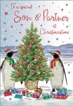 Christmas Card - Son & Partner Penguins - Regal