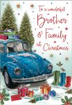 Christmas Card - Brother & Family Blue Beetle - Regal