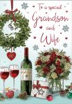 Christmas Card - Grandson & Wife Wine Bouquets - Regal