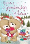 Christmas Card - Granddaughter & Partner Cute Bears - Regal