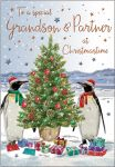 Christmas Card - Grandson & Partner Penguins- Regal