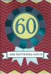 60th Birthday Card - Male - Rosette Glitter