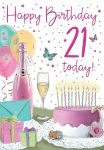 21st Birthday Card - Female - Champagne & Cake - Regal
