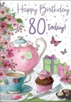 80th Birthday Card - Female - Afternoon Tea - Regal