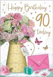 90th Birthday Card - Female - Pink Flowers - Regal