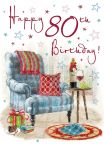 80th Birthday Card - Armchair & Wine - Regal