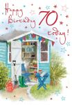 70th Birthday Card - Garden Potting Shed - Regal