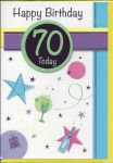 70th Birthday Card - 70 Today Green Champagne