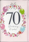 70th Birthday Card - Female - 70th Birthday Wishes Balloons Pink