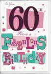 60th Birthday Card - Female - Pink Fabulous Birthday