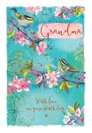 Birthday Card - Grandma - Birds Springtime - Ling Design