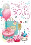 30th Birthday Card - Female - Boutique - Glittered - Regal