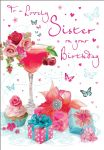 Birthday Card - Sister Cocktail Presents - Glitter - Regal