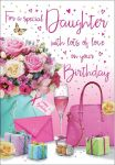 Birthday Card - Daughter Flowers & Presents - Glitter - Regal