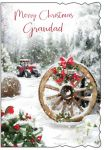 Christmas Card - Grandad - Tractor & Robin - Glitter - Out of the Blue