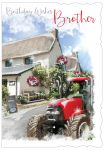 Birthday Card - Brother - Red Tractor - Glitter Out of the Blue