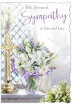 Deepest Sympathy Card - Sad Time Flowers - Glitter Out of the Blue
